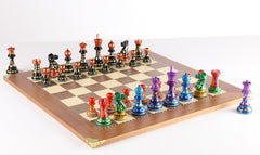 Sydney Gruber Painted Club Chess Set Combo #3 in Multicolor vs Black - Chess Set - Chess-House