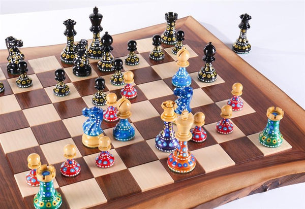 Sydney Gruber's Painted Chess Set - Live Edge Design - Chess Set - Chess-House