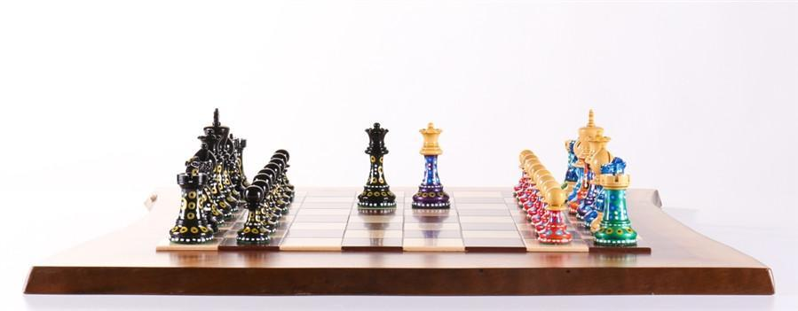High Quality Sydney Gruberu0027s Painted Chess Set   Live Edge Design   Chess Set   Chess  House