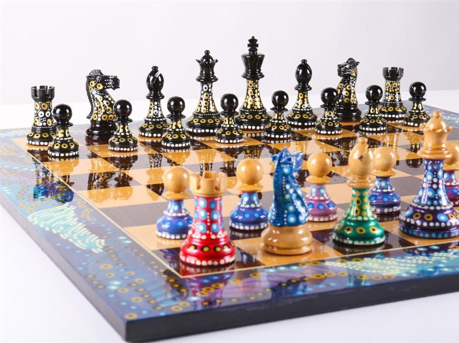 Captivating Sydney Gruberu0027s Painted Chess Set   Polgar Design   Chess Set   Chess House
