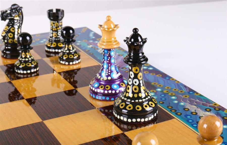 Lovely Sydney Gruberu0027s Painted Chess Set   Polgar Design   Chess Set   Chess House