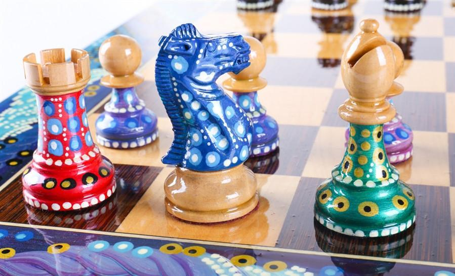 Sydney Gruberu0027s Painted Chess Set   Polgar Design   Chess Set   Chess House