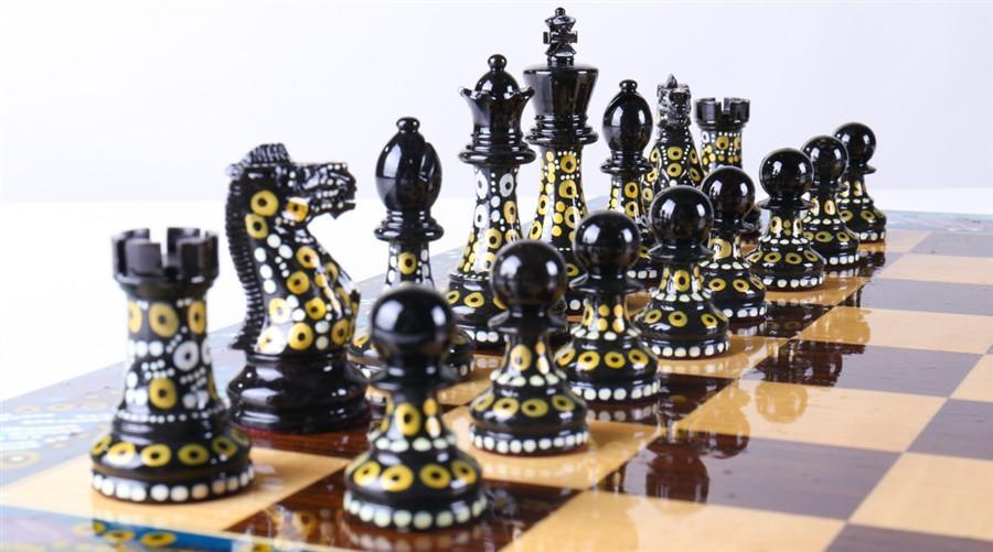Attractive Sydney Gruberu0027s Painted Chess Set   Polgar Design   Chess Set   Chess House