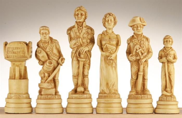 The Battle of Trafalgar Antiqued Chess Pieces