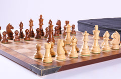 Timeless Chess Pieces on Burl Wood Board - Chess Set - Chess-House