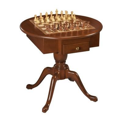 US Made Round Pedestal Game Table, Solid Cherry Wood - 3 in 1 - Table - Chess-House