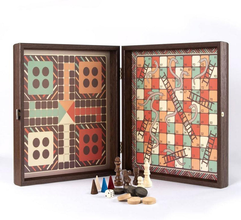 Vintage Style Multi Game Set - Chess, Backgammon, Ludo, Snakes and Ladders