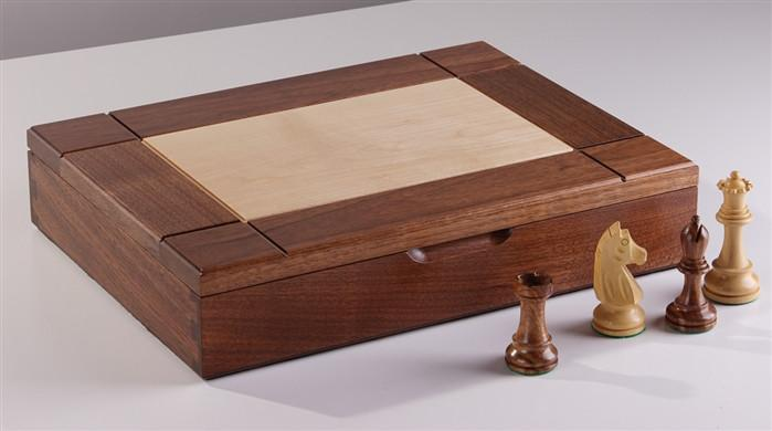Walnut Maple Premium Hardwood Chess Box - Chess Boxes