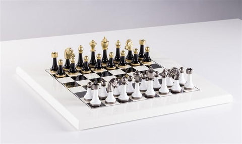 White & Black Wood And Metal Set - Chess Set - Chess-House