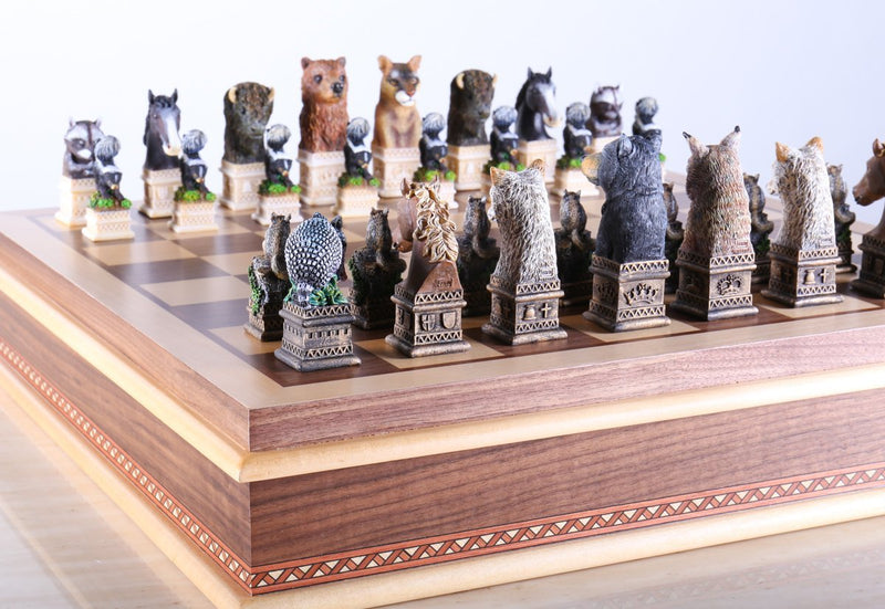 Wild Animals of America Chess Set with Storage Board