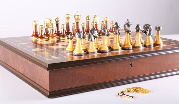 Wood and Metal Florentine Artistic Chess Set - Chess Set - Chess-House