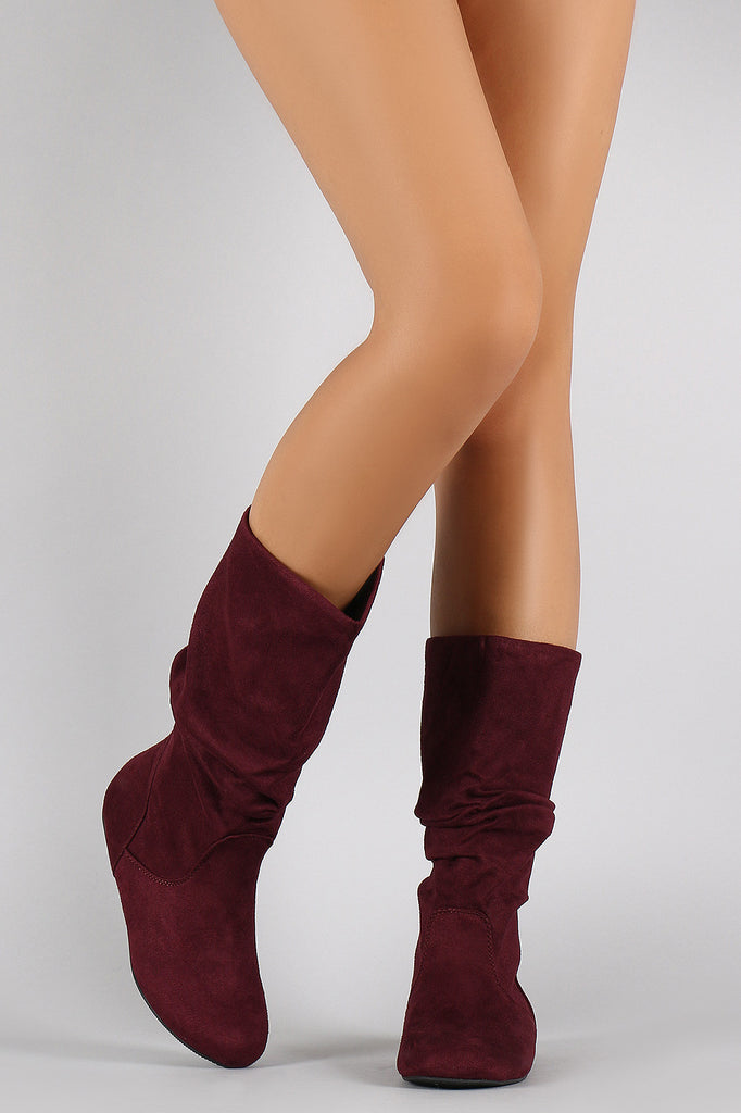 9f78d95ee6c8 Soda Suede Slouchy Round Toe Mid Calf Flat Boots – Shoe Heaven