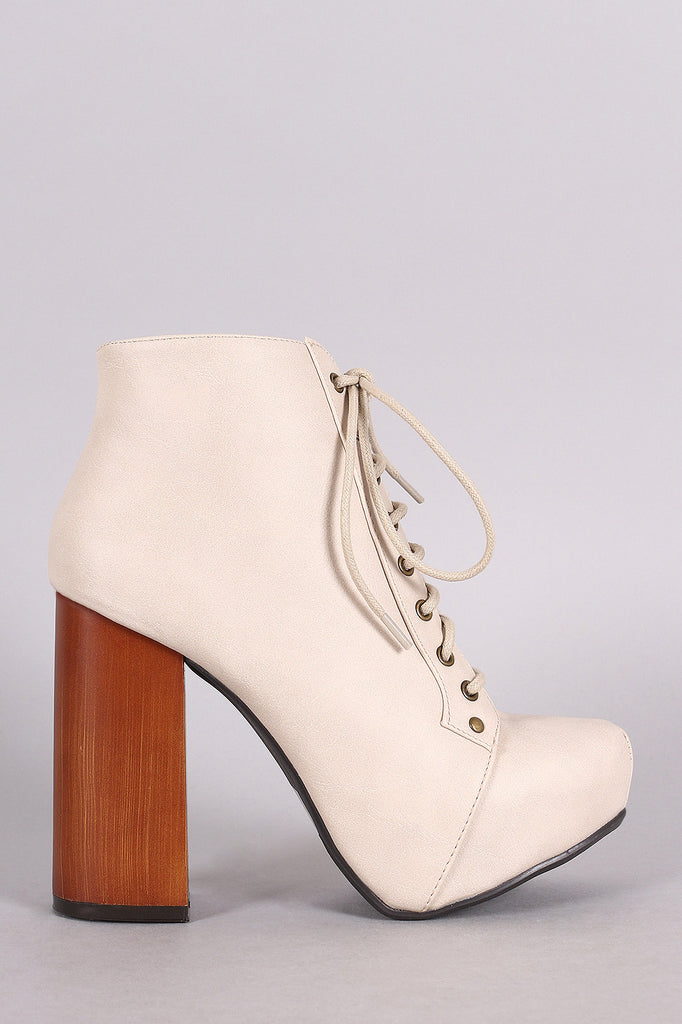 Qupid Lace Up Chunky Heeled Platform Booties