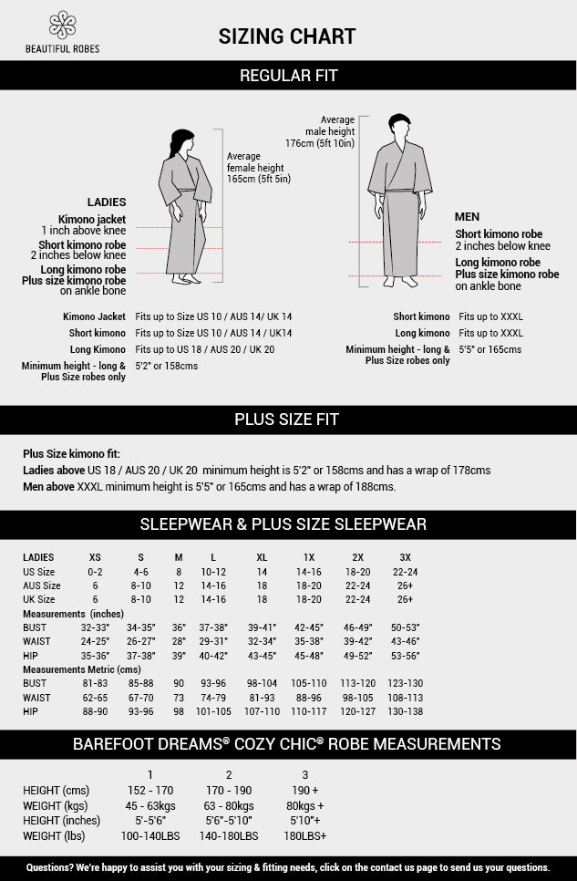 Sizing Chart Kimonos, Bathrobes, Sleepwear Beautiful Robes