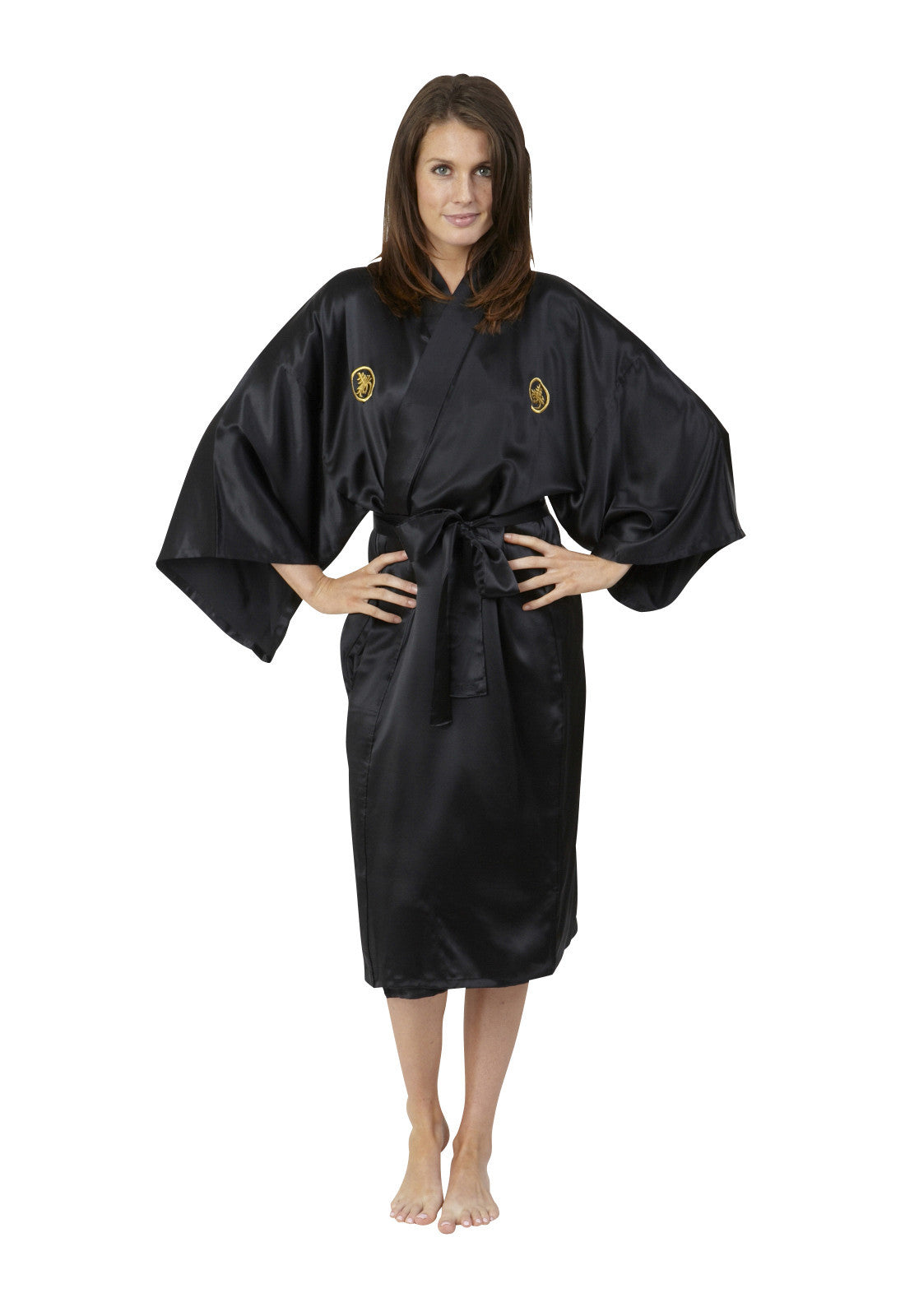 ... Womens Short Silk Kimono Black Gold Embroidery Dressing Gown Robe ... 2893e1d3c