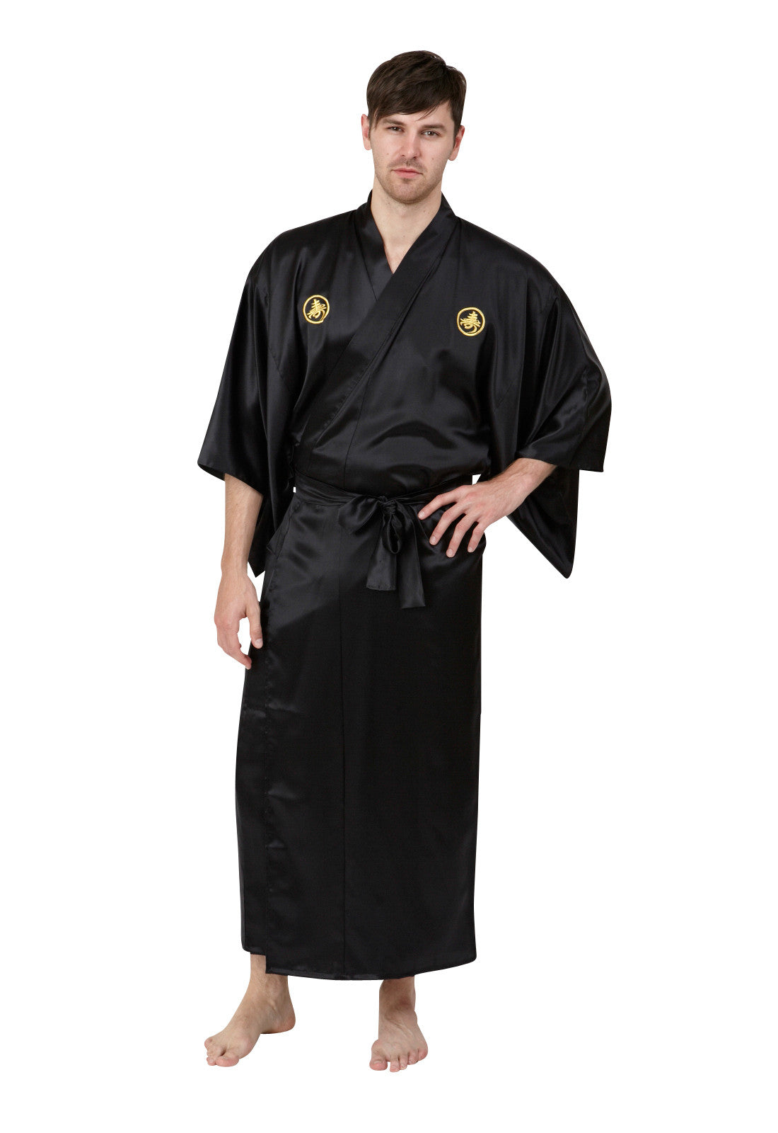 72bddeb37b ... Mens Long Silk Kimono Black Gold Embroidery ...