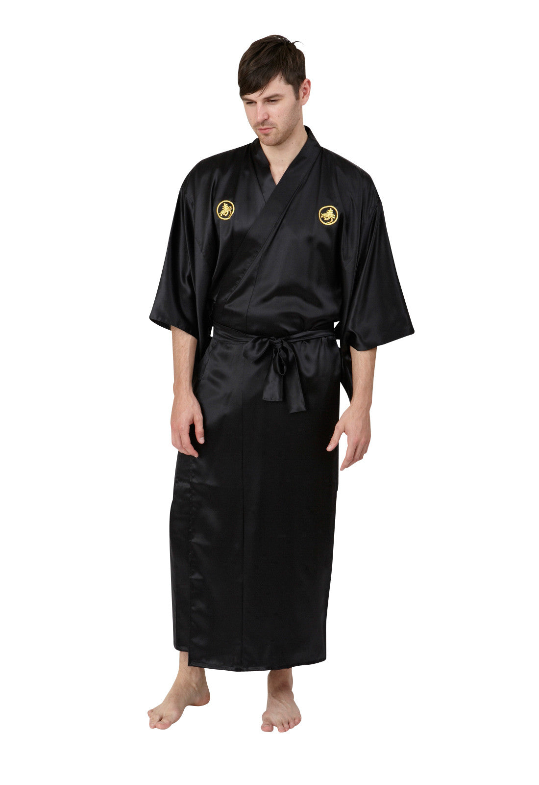 Mitsumon Mens Long Silk Kimono - Beautiful Robes