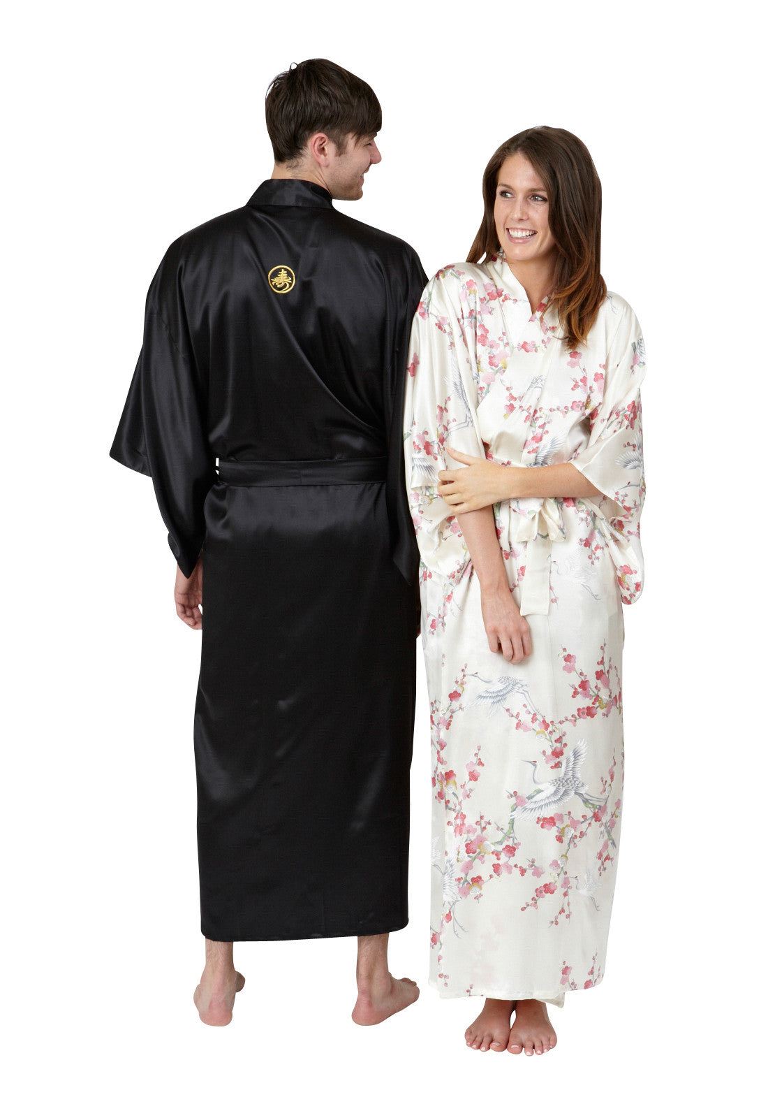 Mitsumon Mens Long Silk Kimono - Beautiful Robes AUS