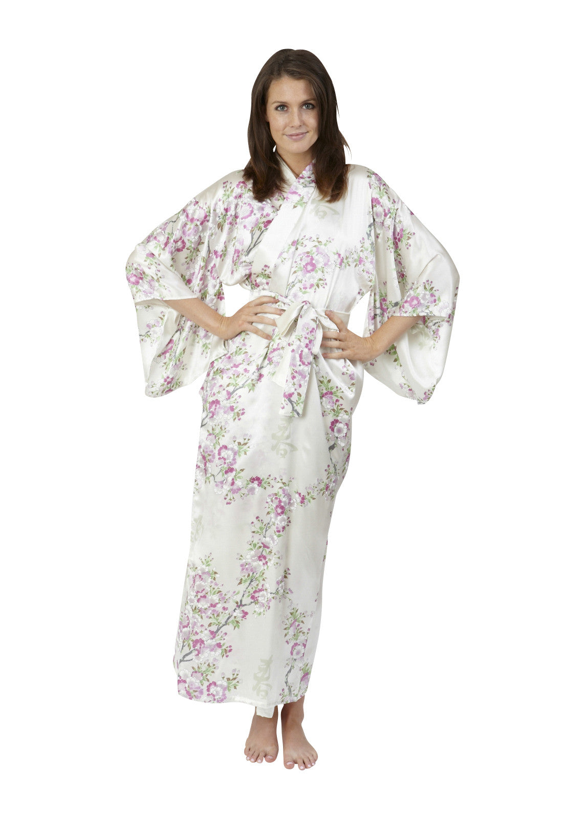 Bridal Kimono Cherry Blossom In Spring Long Silk Robe - Beautiful ...