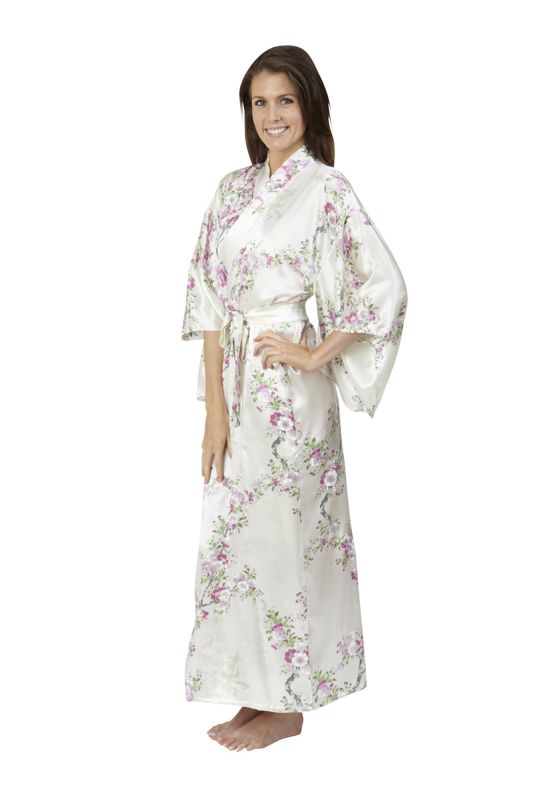 Cherry Blossom In Spring Long Silk Kimono - Beautiful Robes e27be96d4