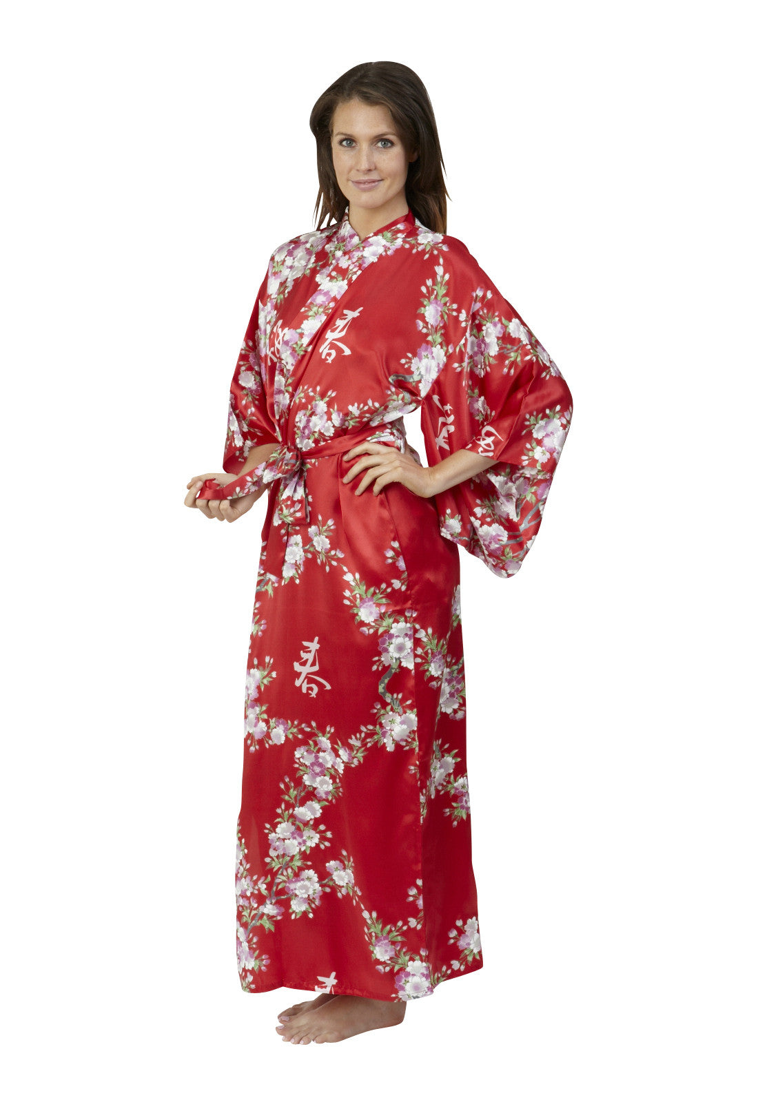Cherry Blossom In Spring Long Silk Kimono - Beautiful Robes AUS