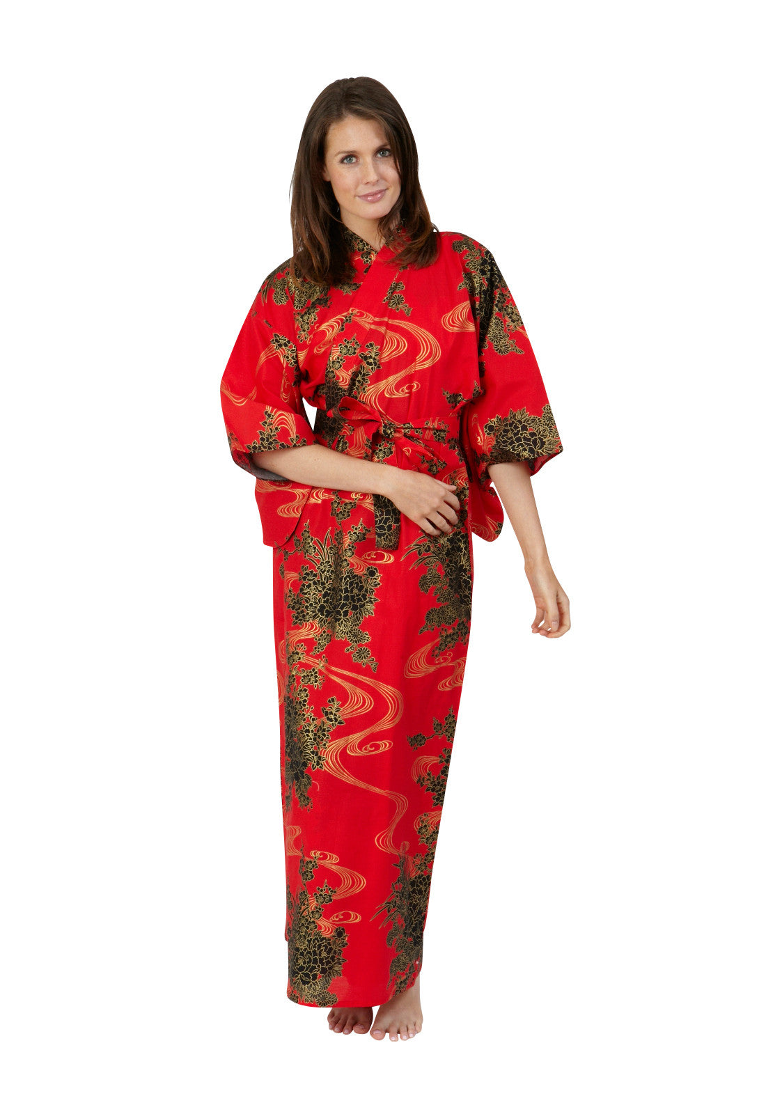 Flowing Long Cotton Kimono - Beautiful Robes AUS