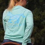 Pocketed Chalky Mint Animal Print Long Sleeve