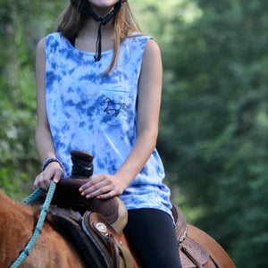 Pocketed Turquoise & Navy Tie Dye Tank!