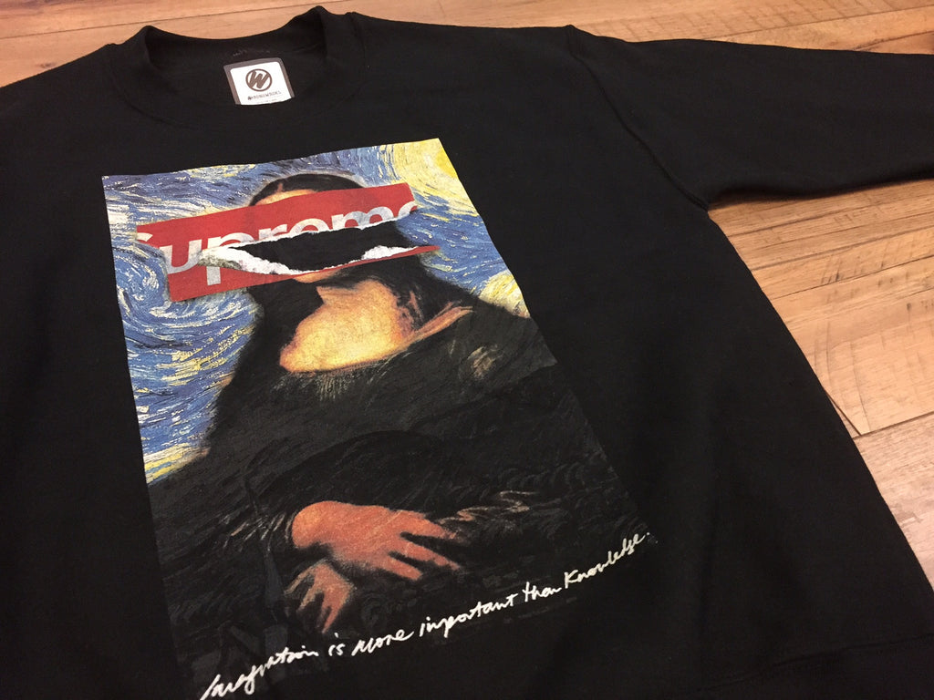 Mona Lisa Ripped Off - Starry Night Crewneck (Black)