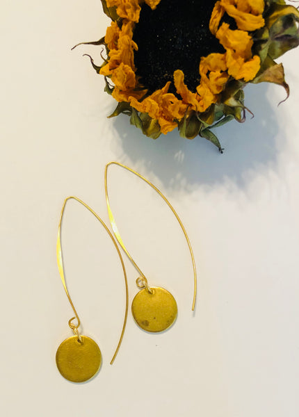 Brass Faceless Coin Earrings