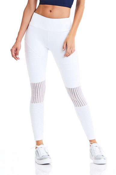 White Detailed Leggings with Mesh-IpanemaGirl