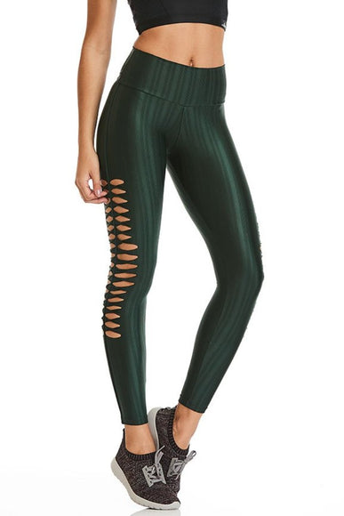 Green Lasercut Shiny Leggings-IpanemaGirl
