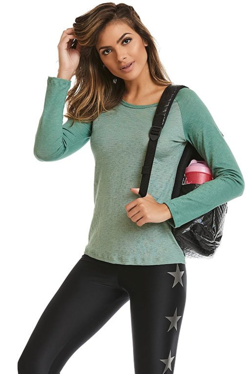 Green Long Sleeve Glow Blouse-IpanemaGirl
