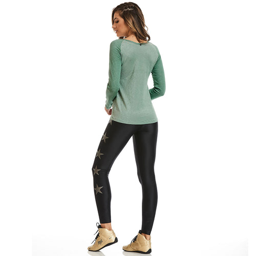 Green Long Sleeve Glow Blouse