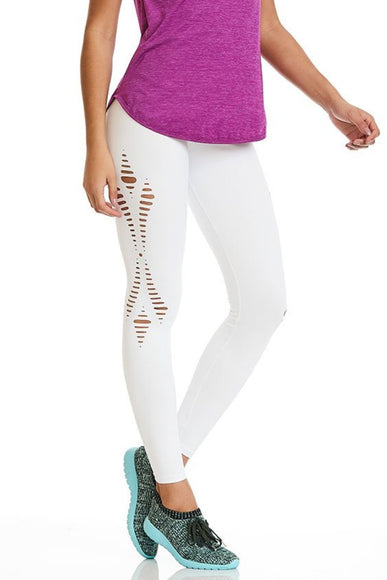 White Emana Lasercut Leggings-IpanemaGirl