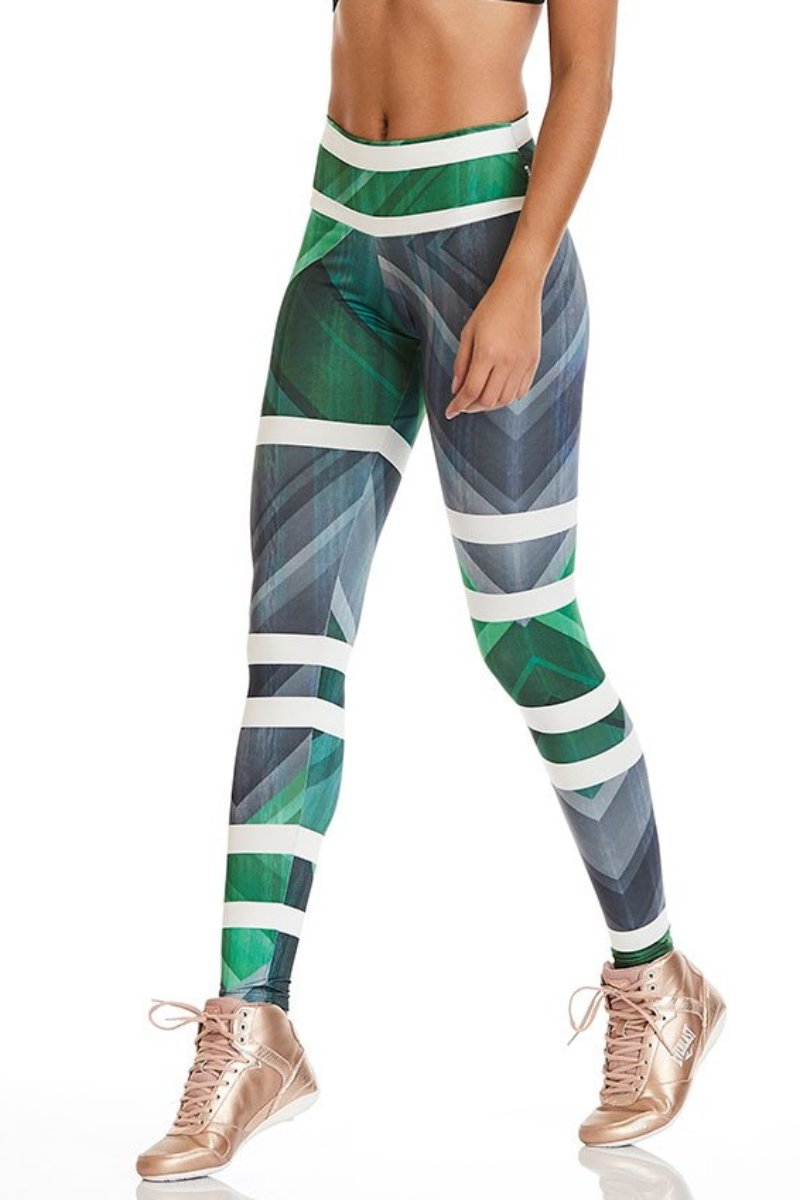 Green Geometry Leggings-IpanemaGirl