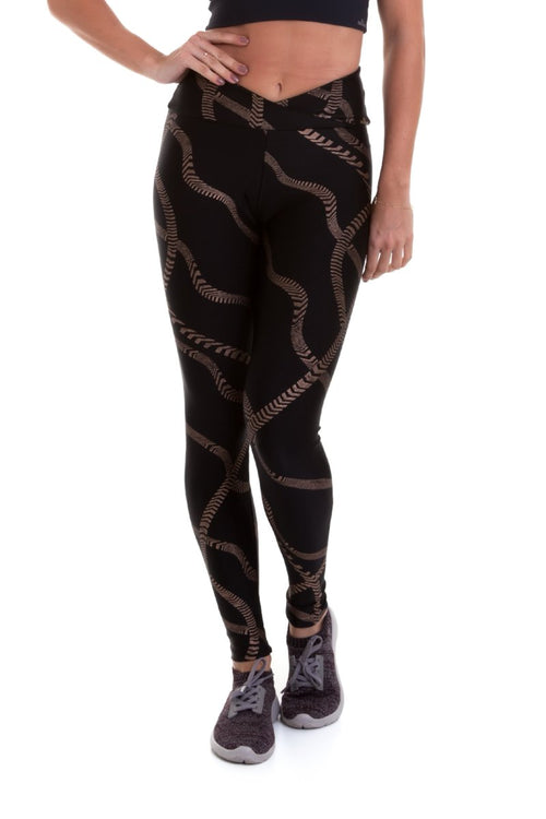 Black Gold String Leggings