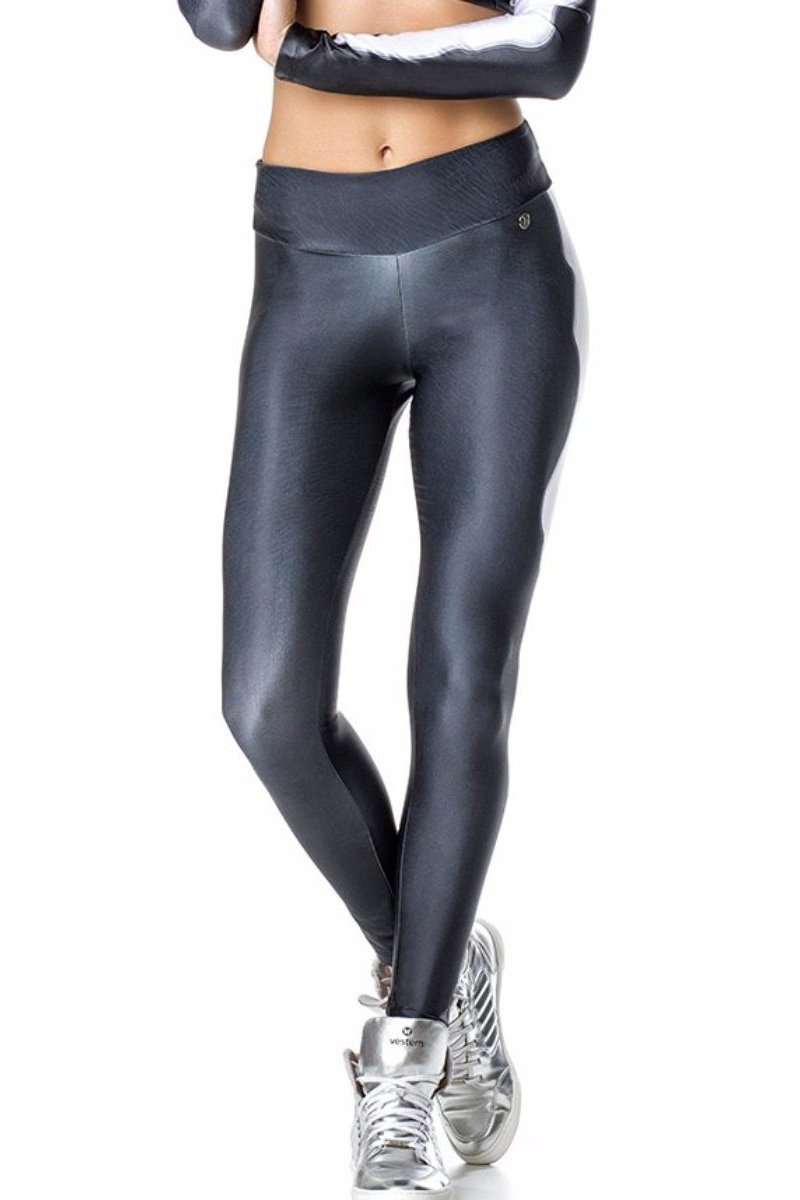 Grey Shiny Leggings-IpanemaGirl