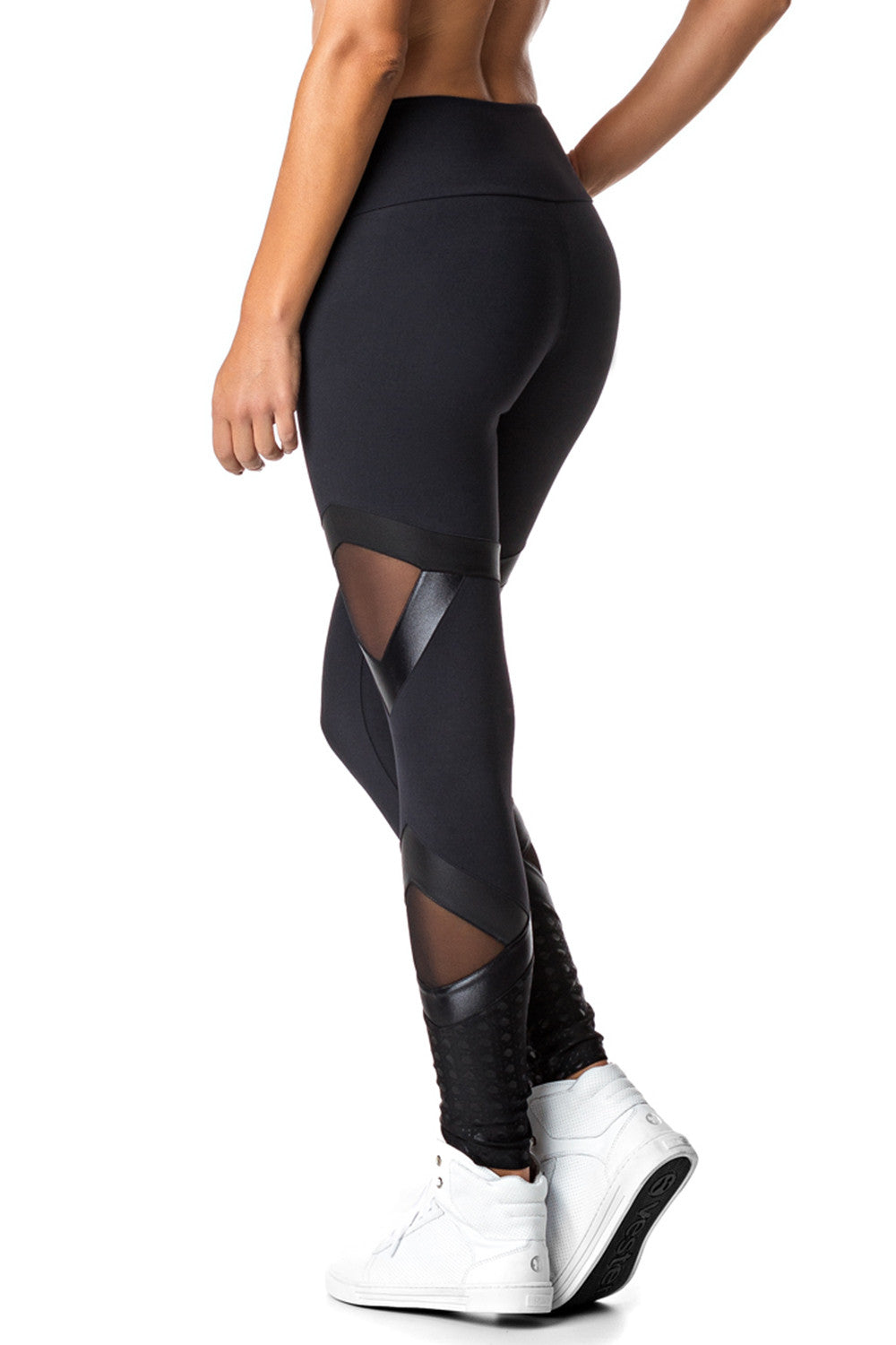 Black Meshed Leggings