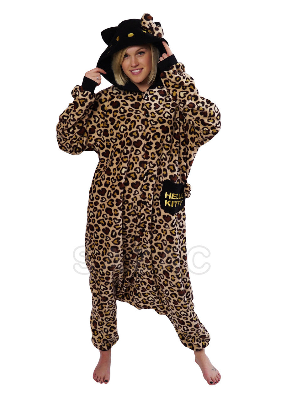Brown Leopard Hello Kitty Kigurumi Adult Onesie