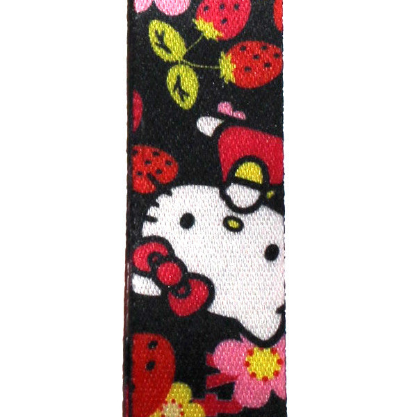 Hello Kitty Lanyard Black Strawberry Version