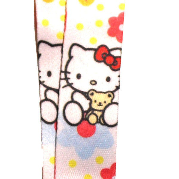 Hello Kitty Lanyard White Flowers Version
