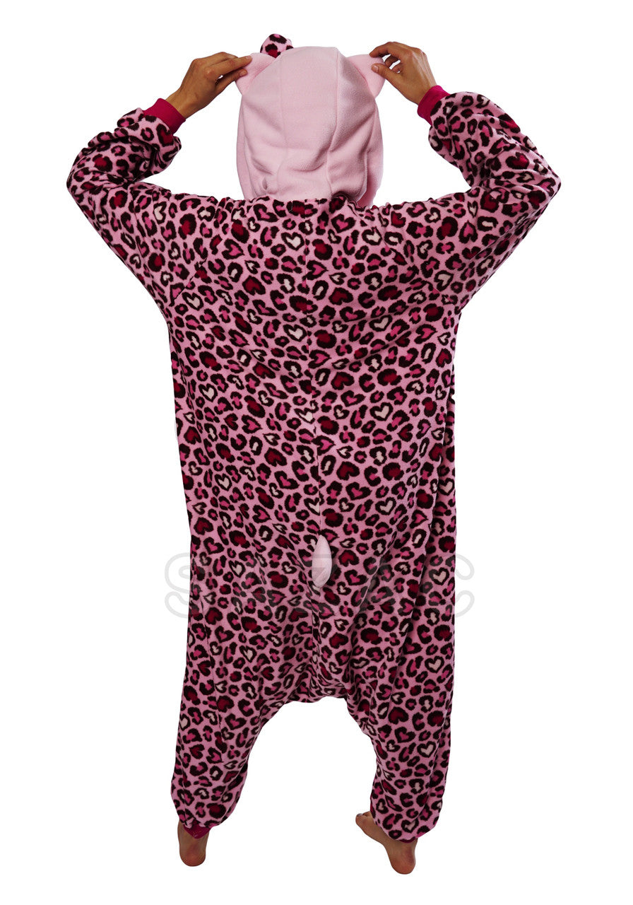 Pink Leopard Hello Kitty Kigurumi Adult Onesie