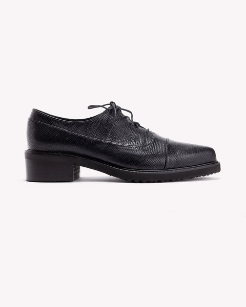 Alex - Black Leather Oxfords - Olive Thomas