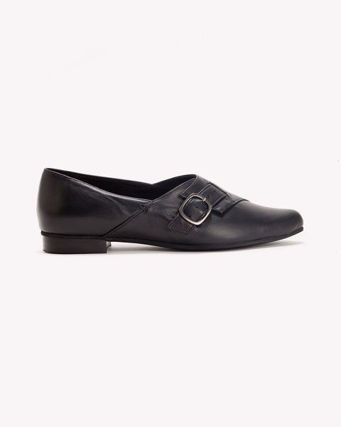 Alice - Black Leather Flats - Olive Thomas