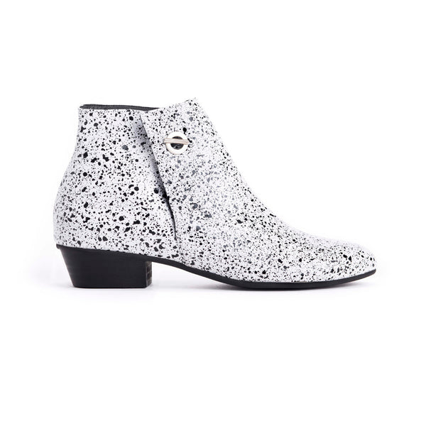 White Print Ankle Boots - Charlie