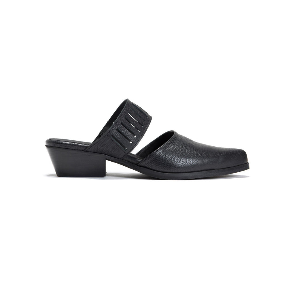 Black Cut Out Mules - Coco