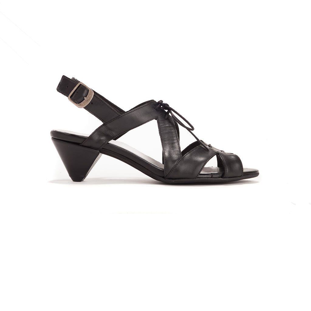 Fay - Black Leather Sandals