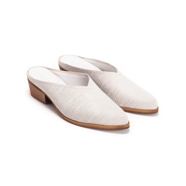 Cream Low Heel Mules - Jolie