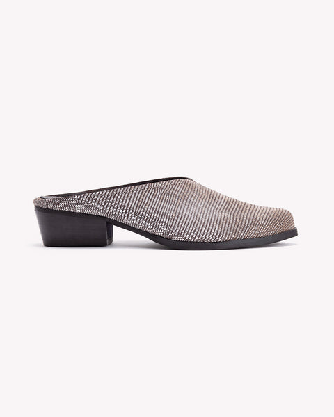 Jolie - Leather Low Heel Mules - Olive Thomas